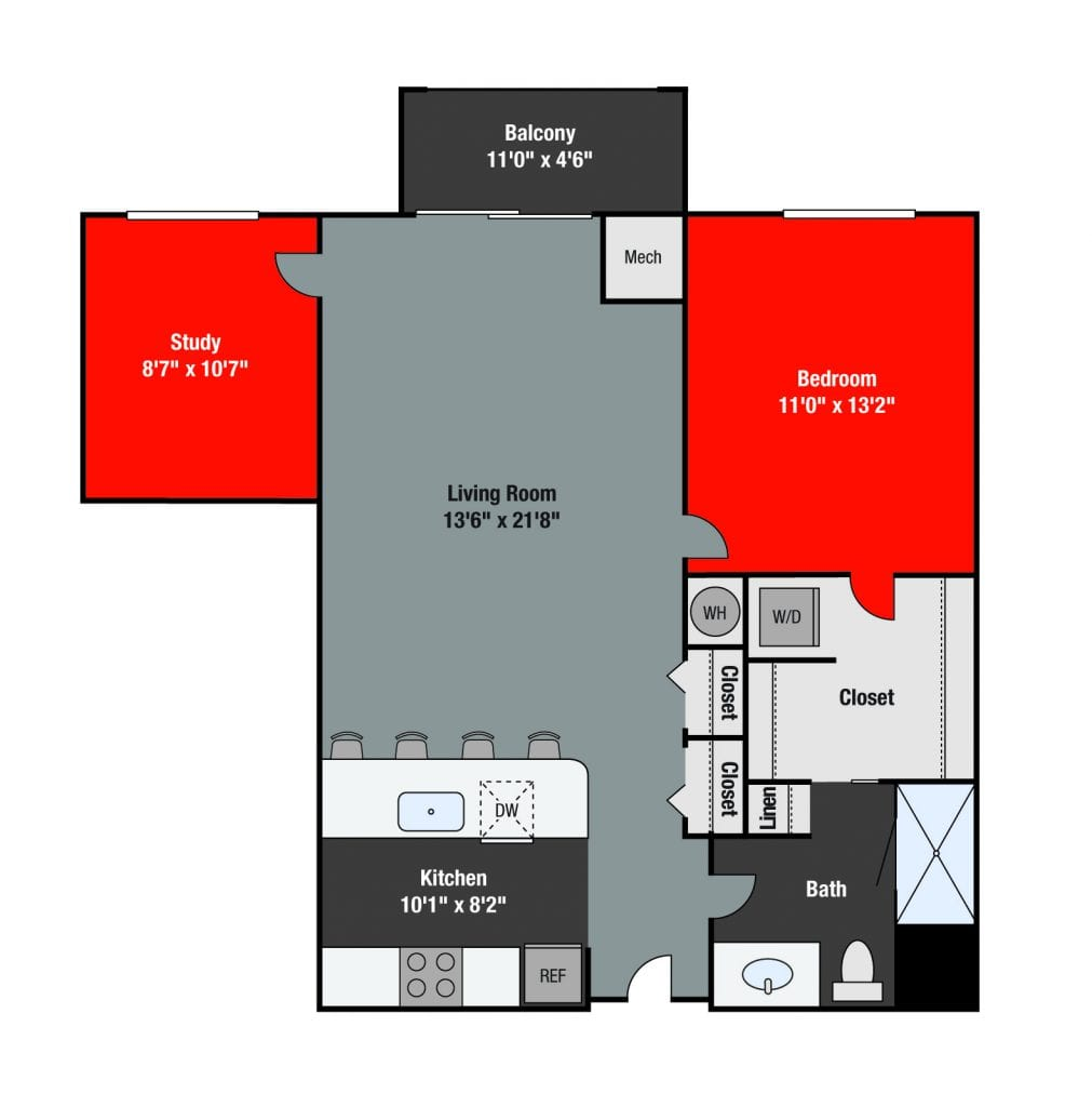 Apartments For Rent TGM NorthShore - Huron with study