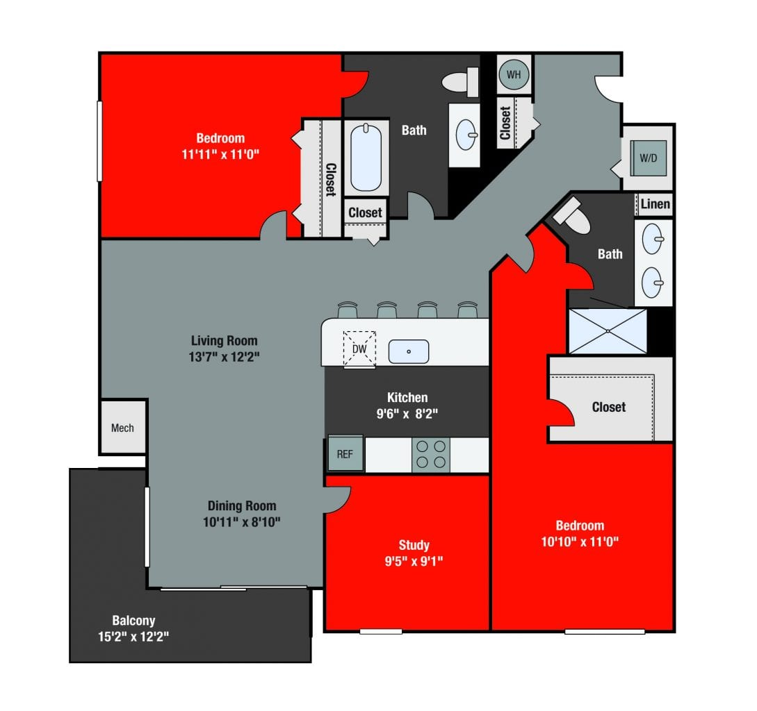 Apartments For Rent TGM NorthShore - Randolph with study