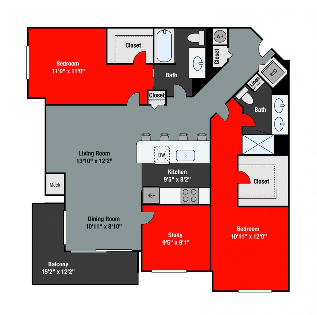 Apartments For Rent TGM NorthShore - Wabash with study