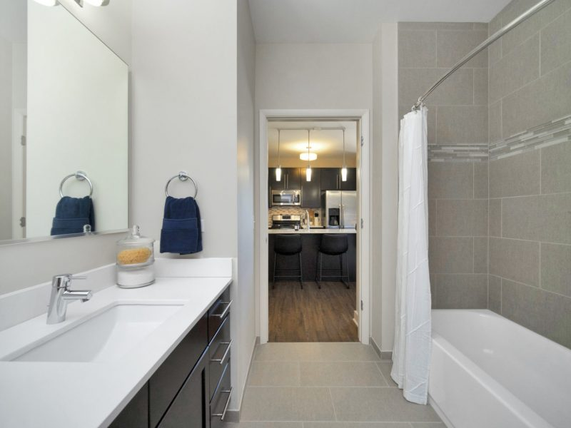 This image shows a contemporary bath that is spacious and accessible utility. It has quartz countertops, ceramic tile floors, and tub surrounds.