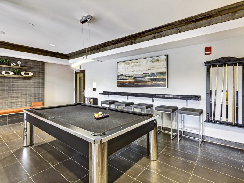 This image shows the clubhouse featuring the spacious and gorgeous billiards area.