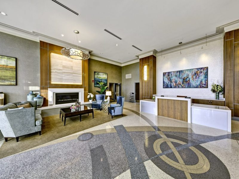 This image features the gorgeous business lounge or leasing center that offers 24-hour emergency maintenance.
