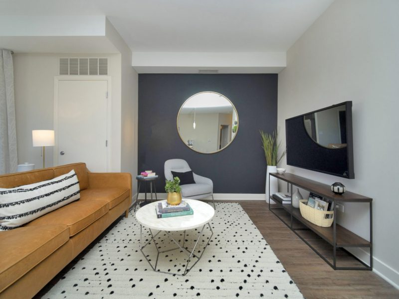 This image shows the premium feature in the living room area with modern floor mats and modern interior design that was ideal for a neat atmosphere. There are a hanging TV and elegant plank flooring in the living area.
