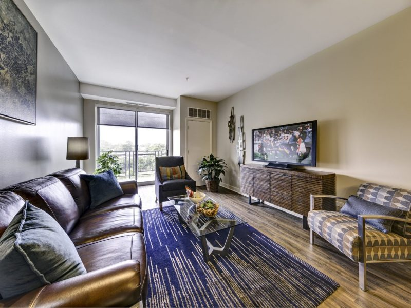 This image shows a modern plank flooring in living areas soaring 9' or 10' ceilings.