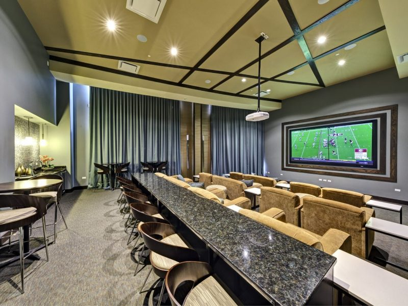 This image shows the media center's plush stadium seating that helps you enjoy while settling a movie.
